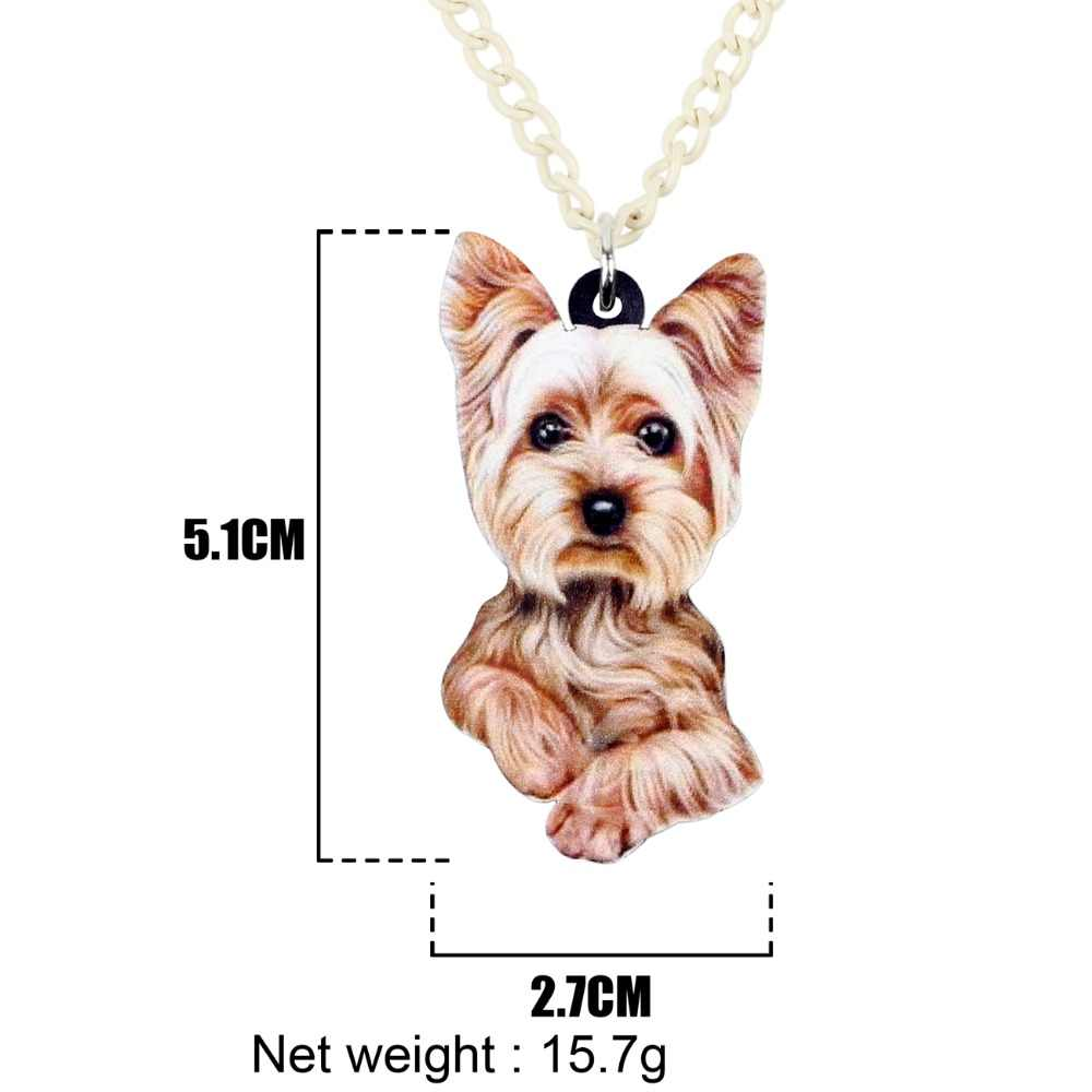 WEVENI Original Acrílico Fofo Yorkshire Terrier Dog Colar Pingente Collar Dos Desenhos Animados Animais Jóias Para Meninas Mulheres Collier 2018
