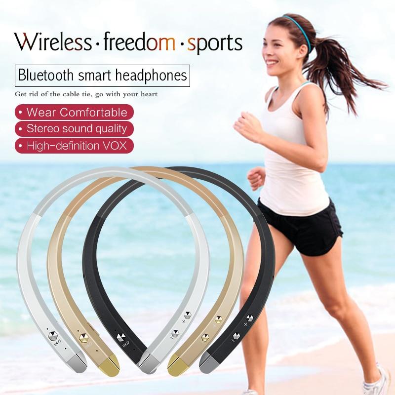 TYAYA New 2017 Neckband Portable Sport Headsets Stereo Wireless Bluetooth Earphones for Mobile Phone Black Sliver Gold Earphone