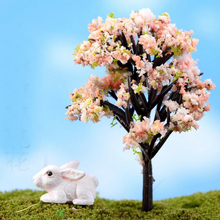 Mini Home Decor Micro World Bonsai Garden Small Ornament Landscape Decoration Resin Crafts Simulation Tree Flower Accessories