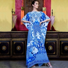 Plus Size Women's Boho Floral Kaftan Dress Beach Tunic Long Maxi Dress Beach Cover Up все цены