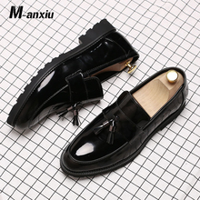 M-anxiu Classic Black Patent Leather Wedding Shoes Mens Wingtip Slip-On Loafers Tassel Fringe Formal Dress Shoes