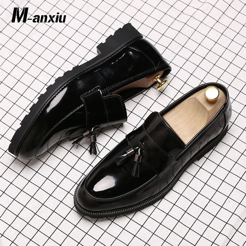 M anxiu Classic Black Patent Leather Wedding Shoes Mens Wingtip Slip On Loafers Tassel Fringe Formal Dress Shoes