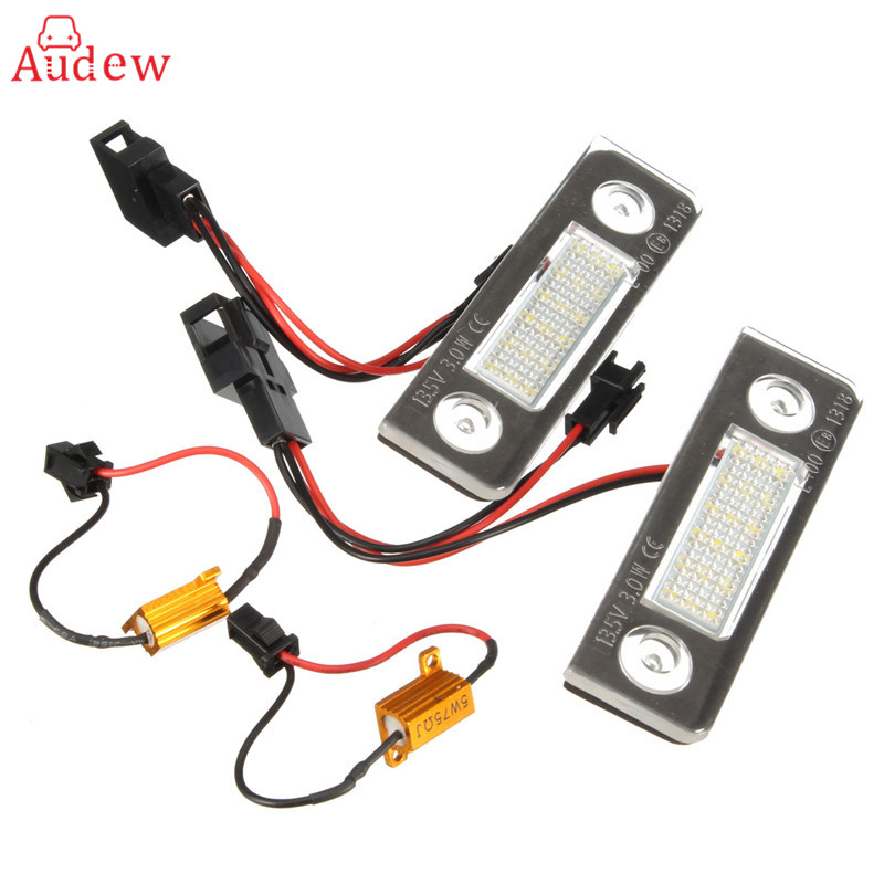 2Pcs License Number Plate Light Lamp 18-LED For Skoda/Octavia/Roomster/5J No Error White 13.5V 7000K 2pcs 18smd no error led number license plate light lamp oem direct fit for chevrolet cruze all cars 2009 canbus with decoder