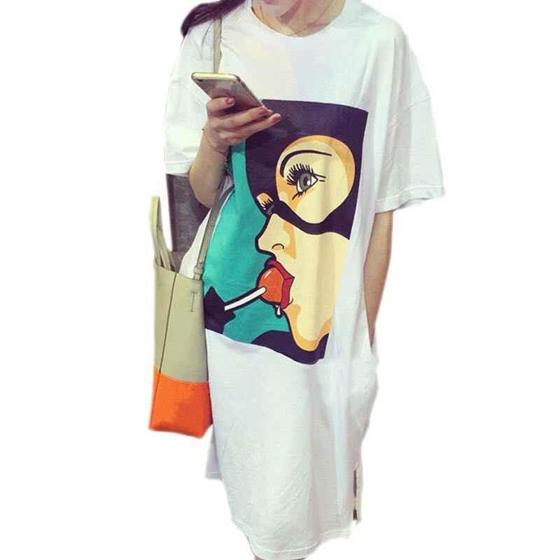 אופנה Lolipop מורי ילדה הדפסה בתוספת גודל קיץ שמלת פוליאסטר מקרית O-צוואר שחור לבן חולצה מצחיק כיס נשים שמלת Y102