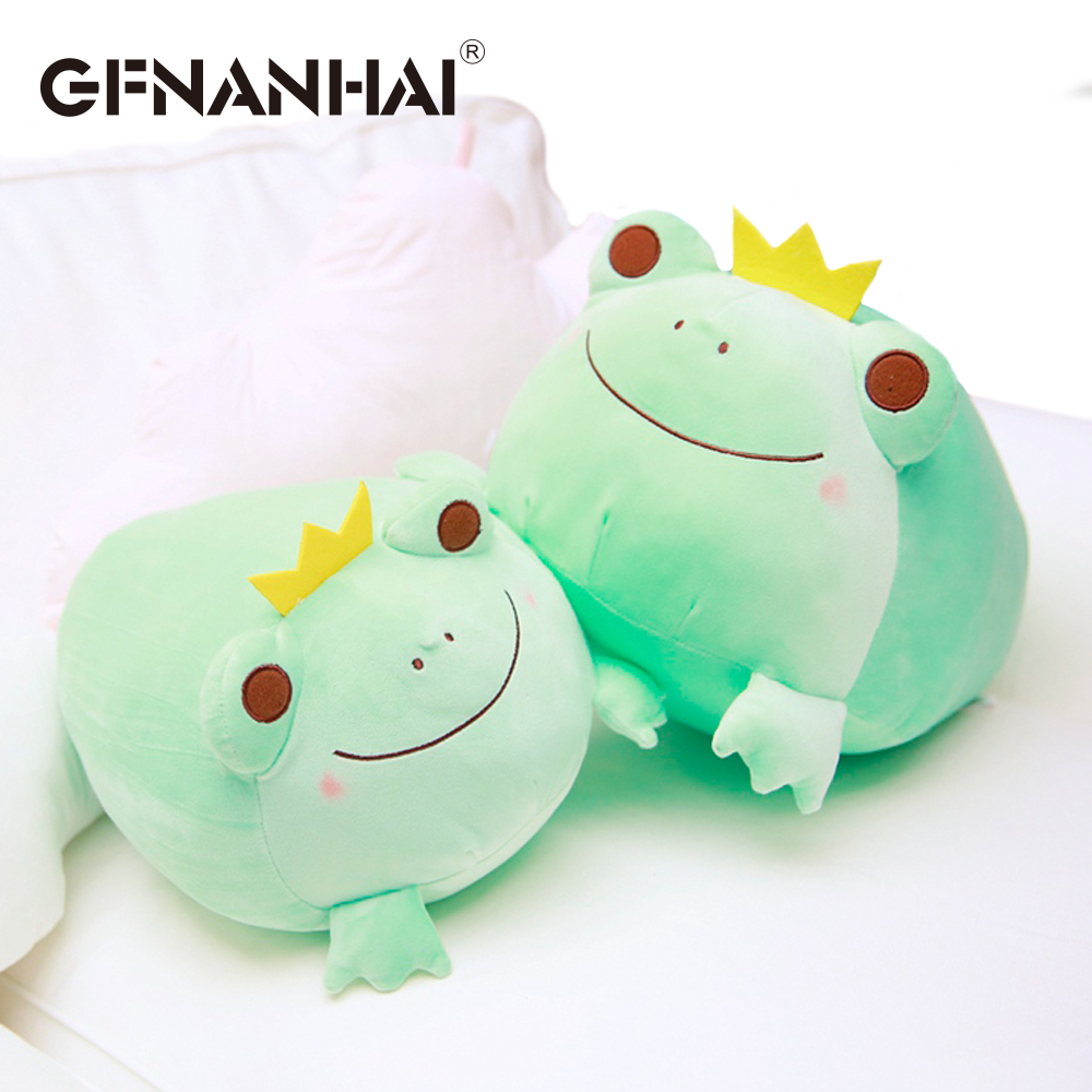 1pc 35cm Cute The Crown Frog Plush Pillow Stuffed Down Cotton Kids Toys Kawaii Smile Frog Dolls For Children Birthday Gift