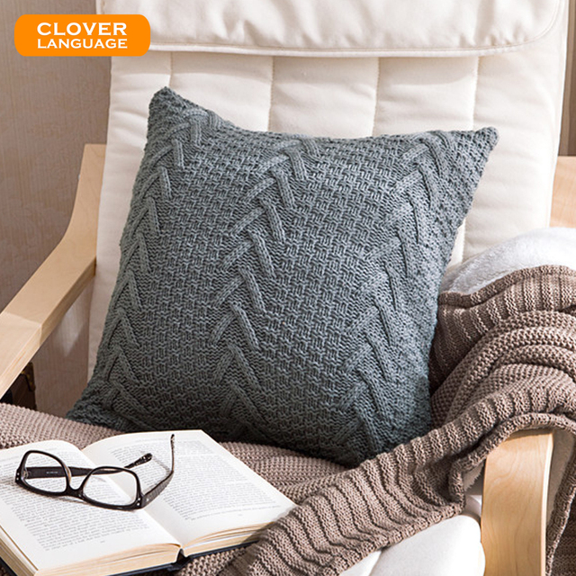 Aliexpress Buy Retro Style Knitted Cushion Cover Square 45cm