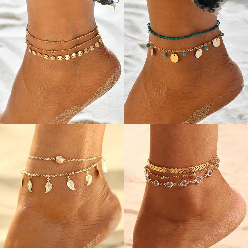 2019 New Multilayer Anklet Bracelets For Women Bohemia Gold Heart Leaf Beads Anklets Set Bracelet On Leg Summer Beach Jewelry