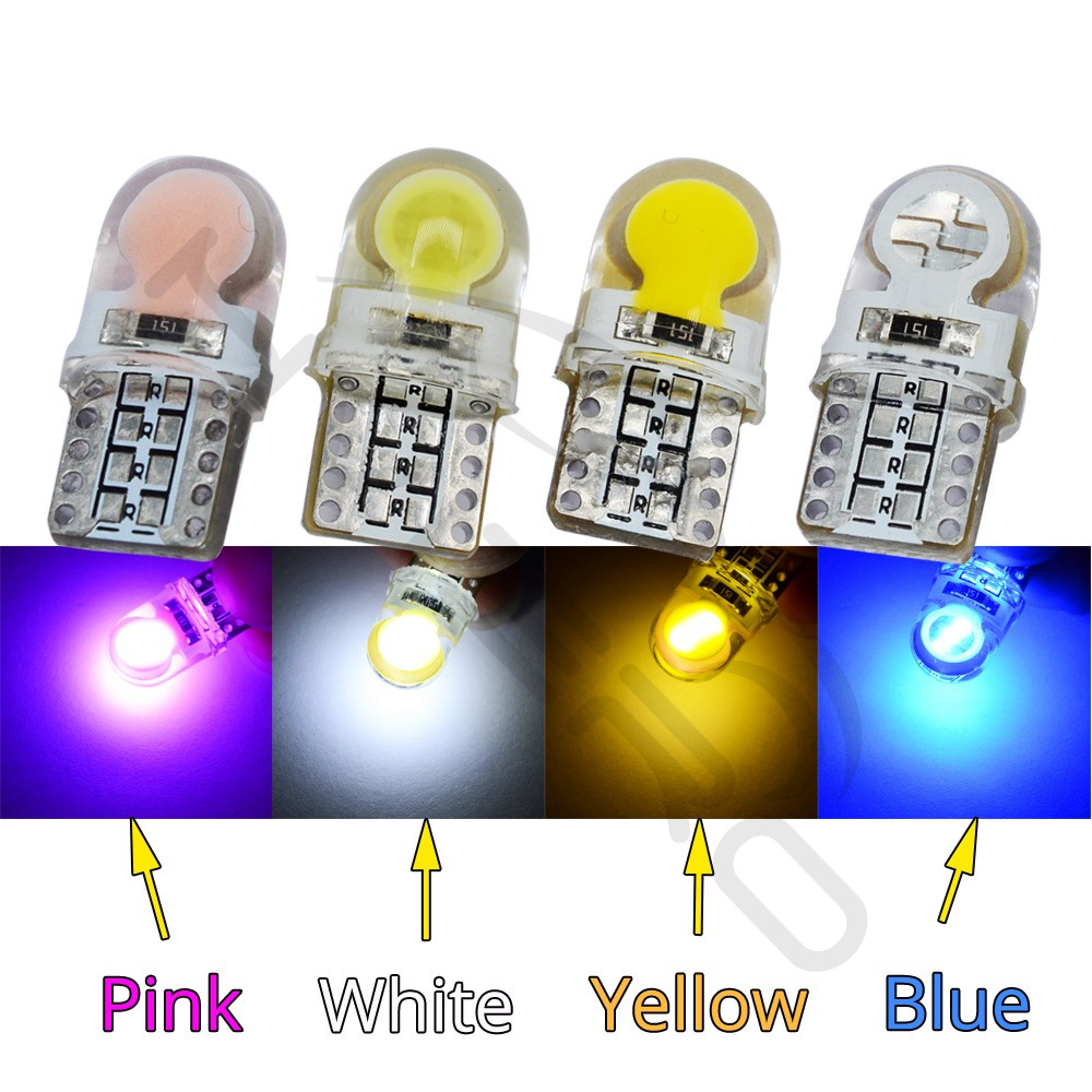 2* T10 194 W5W COB LED Car Super Bright Silica License Plate Light Bulb Ice Blue