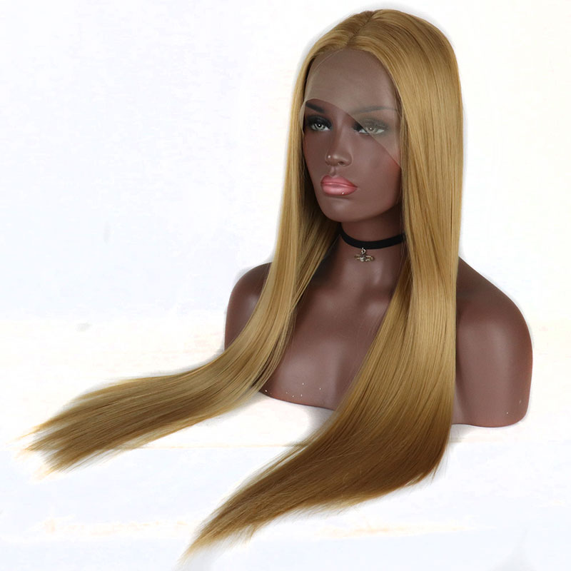 Bombshell Swiss Lace Front Wig Long Straight Gold Honey Blonde Synthetic Wigs For White Women Halloween