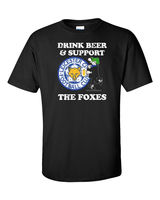Novelty Design Men Leicester T Shirt Foxes Premier League Foot Balls Soccerer Beer Alcohol Andy Capp
