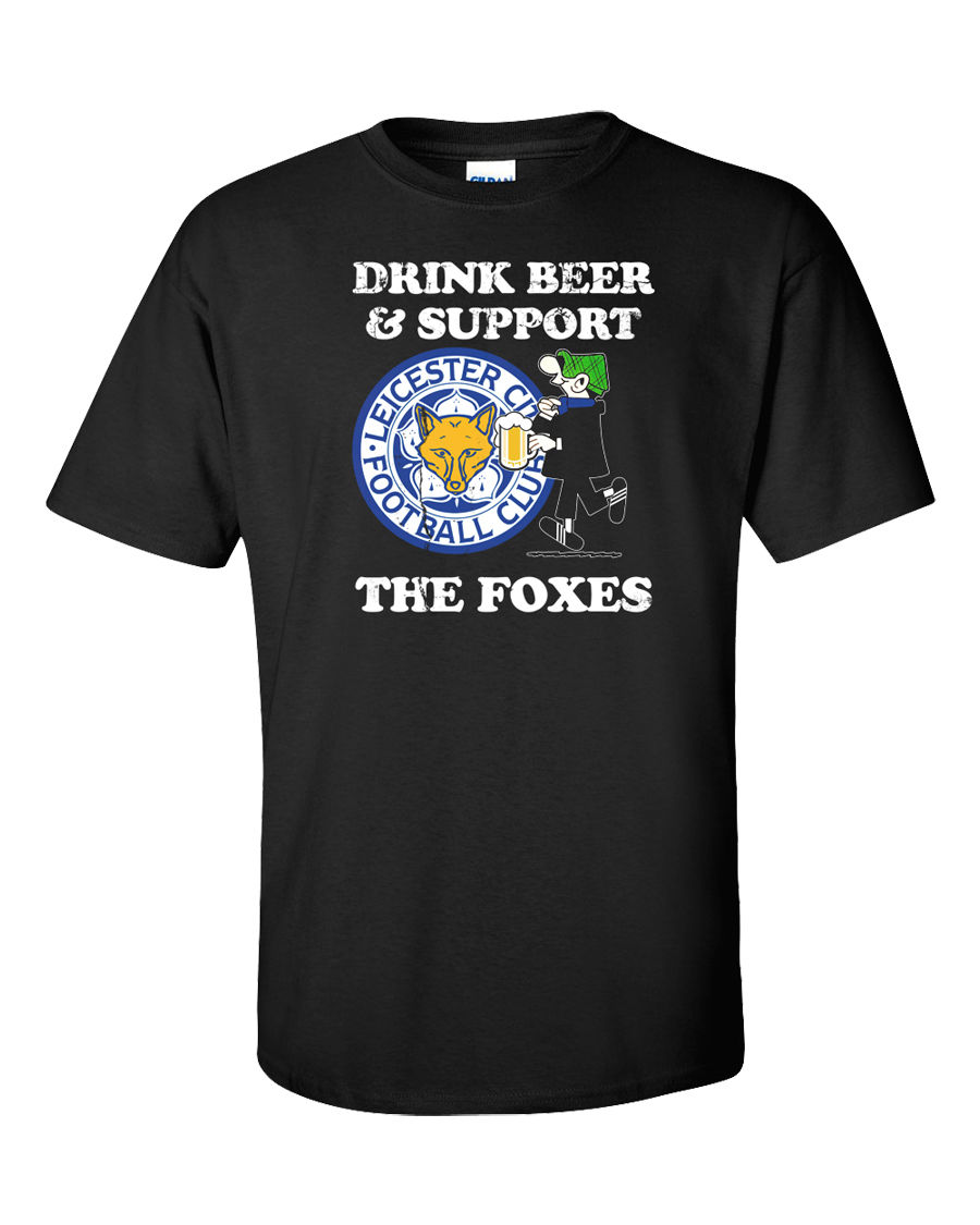 Novelty Design Men Leicester T-Shirt Foxes Premier League Foot balls Soccerer Beer Alcoh ...