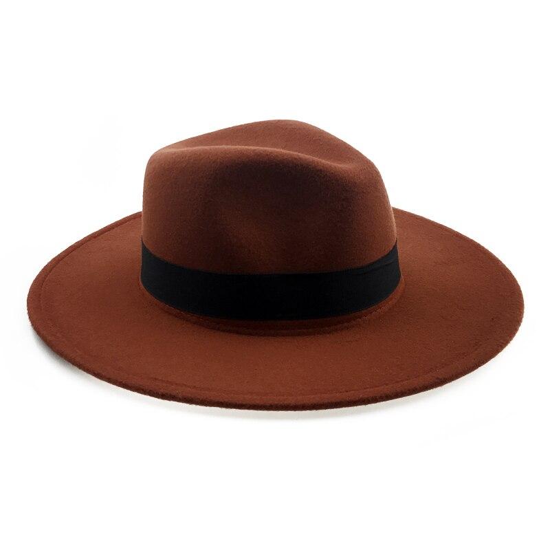 63264886227ac Elegant Orange Wool Fedora Hat for Women Autumn Vintage Trilby Caps Wide  Brim Jazz Church Panama Men Felt Bowler Hats YY18111-in Men's Fedoras from  Apparel ...