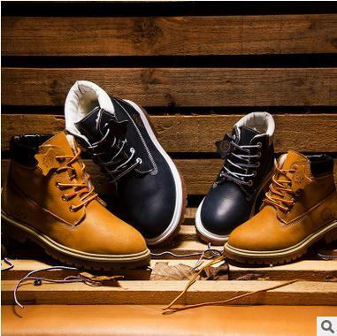 100% Cow Genuine Leather Children Shoes Kids Sewing Work Boots Flats with Boys Martin Boots Unisex