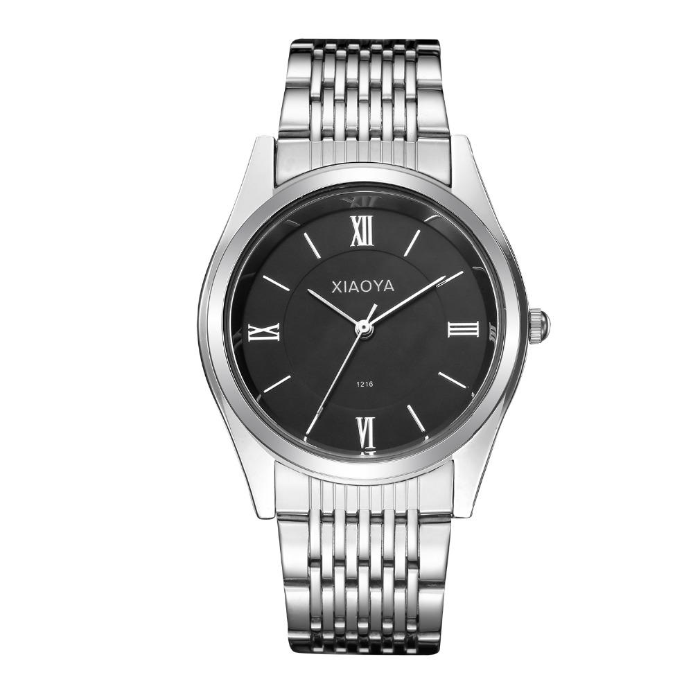 XIAOYA Full Steel White Black Ray Dial 30m Waterproof Classic Hands Business Dress Sport Wrist watch Watches for Men Male classic contrast color club mini dress black white