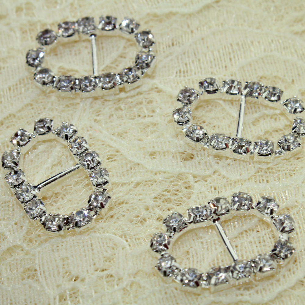 Buckle Diamond 70pcs ellipse Rhinestone Ribbon Buckle wedding ...