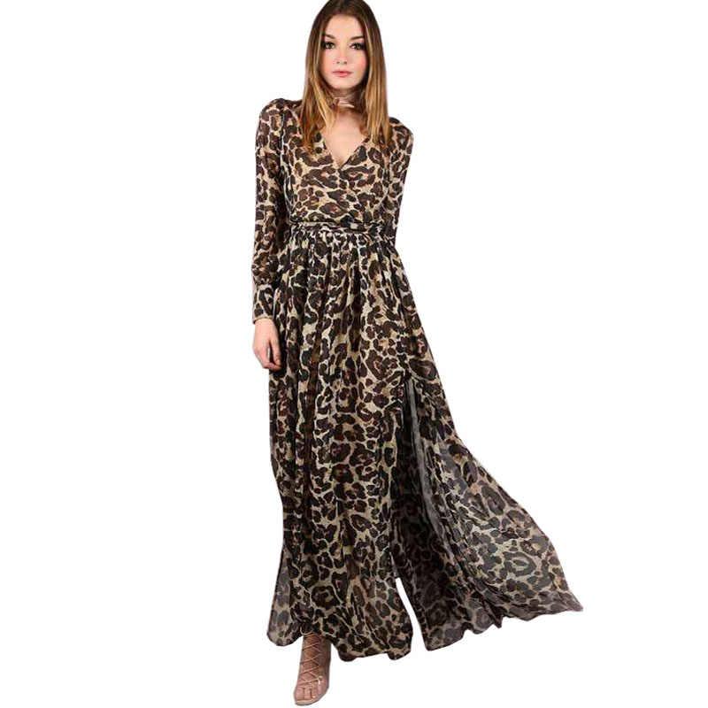 08f256fb0 Модные летние шифоновые вечерние платье женская одежда Sexy Глубокий V с  длинным рукавом с леопардовым принтом