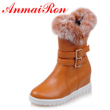 ANMAIRON Low Heels 5 Colors Buckle Wedges Heels Platform Boots Women Winter Fur Boots Sweet Lady Shoes Woman Casual Boots wetkiss buckle knee high boots thick high heels knight boots platform shoes woman autumn winter boots cool winter shoes woman