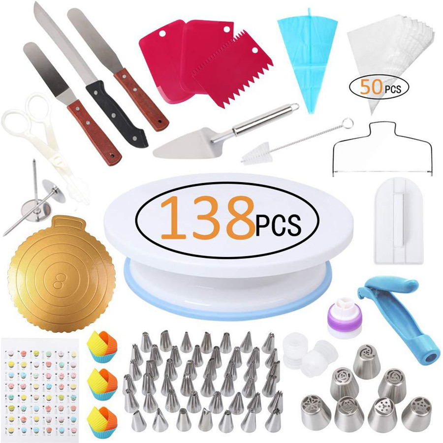 GZTZMY 138 Pcs Lot Cake Turntable Set Pastry Nozzle TPU Pastry Bag Cake Decorating Tools Cake Icing Piping Bag Confectionery Bag