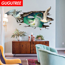 Decorate 3D bird sky art wall sticker decoration Decals mural painting Removable Decor Wallpaper LF-147 blue sky 3d mordern wallpapers floor sticker removable mural decals vinyl art star sky ground ceiling stickers decal home decor