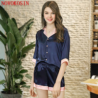 YT28 2018 Women Spring Summer Shorts Faux Silk Turn Down Neck Half Sleeves Navy Blue Pajamas Set Plus Size Sexy Sleeping Wear