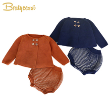 New Baby Girl Clothes Cotton Knit Set Baby Coat and Shorts Spring Autumn Infant Clothing Suit Baby Boy Clothes Winter Outfit недорого