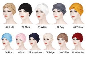 Image 2 - Muslim Women India Hat Muslim Hijab Ruffle Chemo Beanie Turban Islamic Wrap Cap Amira Plain Headscarf Hair Loss Hat Knot Bonnet