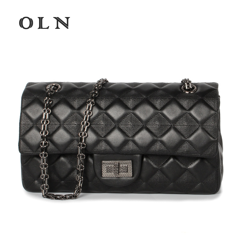 OLN 2018 Brand Genuine Sheep Leather Messenger Bag Female Luxury Trendy Daily Shopping Bag Soft Leather Women Crossbody Bag hmily genuine leather crossbody bag female diamond lattice messenger bag luxury socialite daily bag chaibs style women bag
