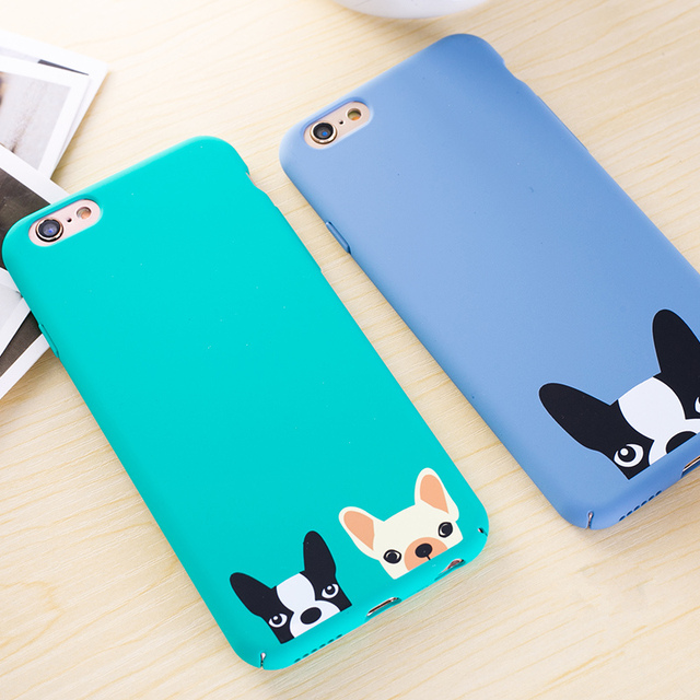 Cute Blue Dog Puppy Bulldog Phone Cases Back Cover For iPhone 7 7Plus 6 6S 6Plus 5 SE 5S