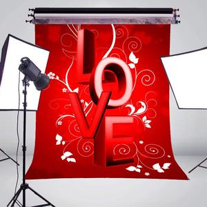 Image 3 - Word LOVE Background Red Photography Background Studio Props Wall Bedroom Photo Backdrop 5x7ft