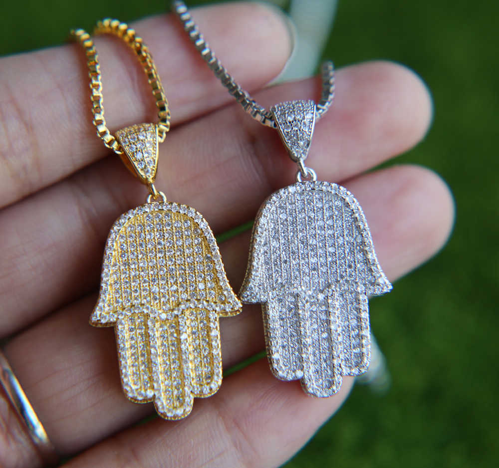 Bezpłatny łańcuch biżuteria męska hip hop bling 38.6mm wielkości micro pave cyrkonia hamsa ręcznie icedd out fajne mężczyzna łańcuch naszyjnik