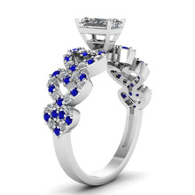 Huitan Romantic Design Wedding Ring Band Fashion Spot White&Blue Engagement Finger With Heart Shaped Dropshipping