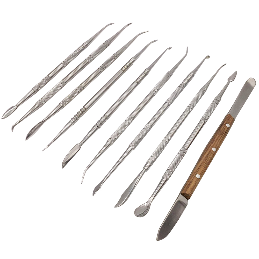 Dental Lab Equipment Wax Carving Tools Set Steel Wax Carver Clay Pottery Blade Surgical Dentist Sculpture Knife Instrument Tool цена
