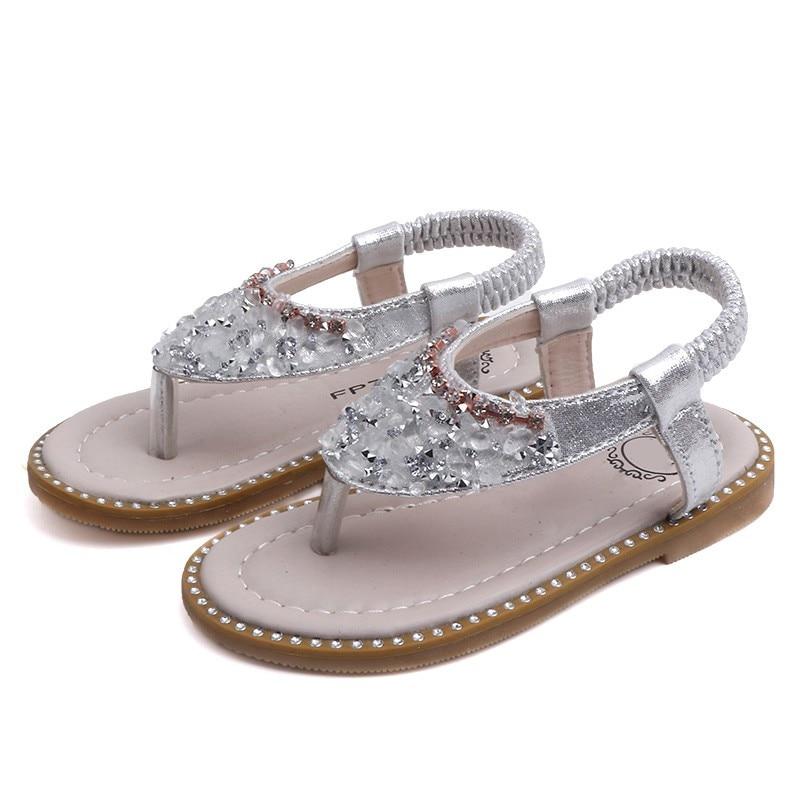 Cute Summer Kids Sandals Rhinestone Design Sandal Girl Open Toe Princess Shoes