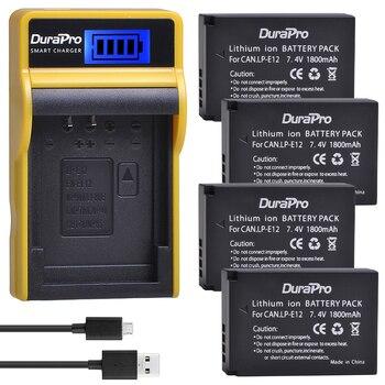 4x1800mAh LP-E12 LPE12 LP E12 Paquete de batería recargable + LCD USB cargador para Canon M 100D beso X7 rebelde SL1 EOS M10 DSLR Cámara