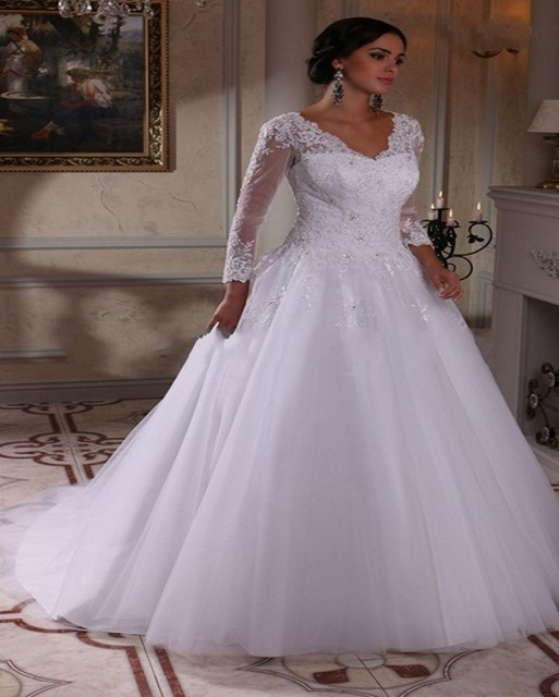 2016 Plus Size Ball Gown Wedding Dress Vintage Lace Long Sleeve ...