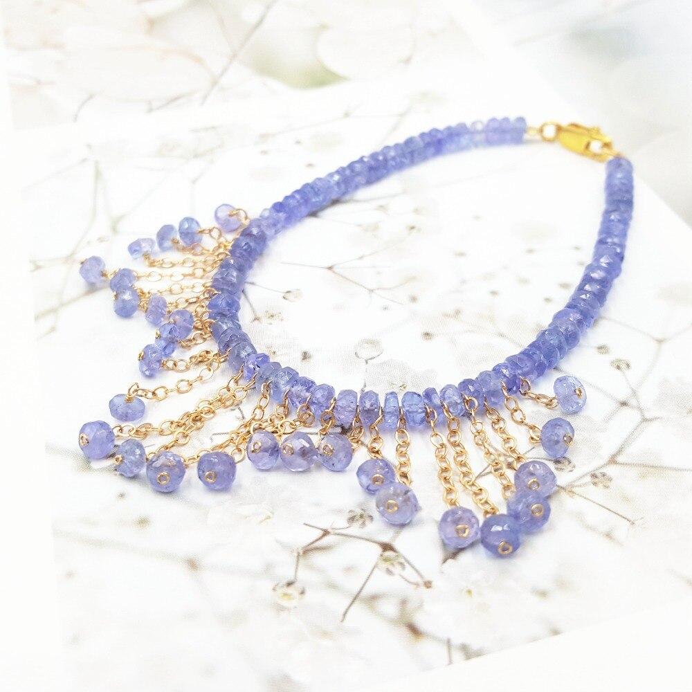 LiiJi Unique pierre naturelle bleu Tanzanites or remplissage gland Bracelet pour les femmes joli cadeau Bracelet de fête de mariage - 3