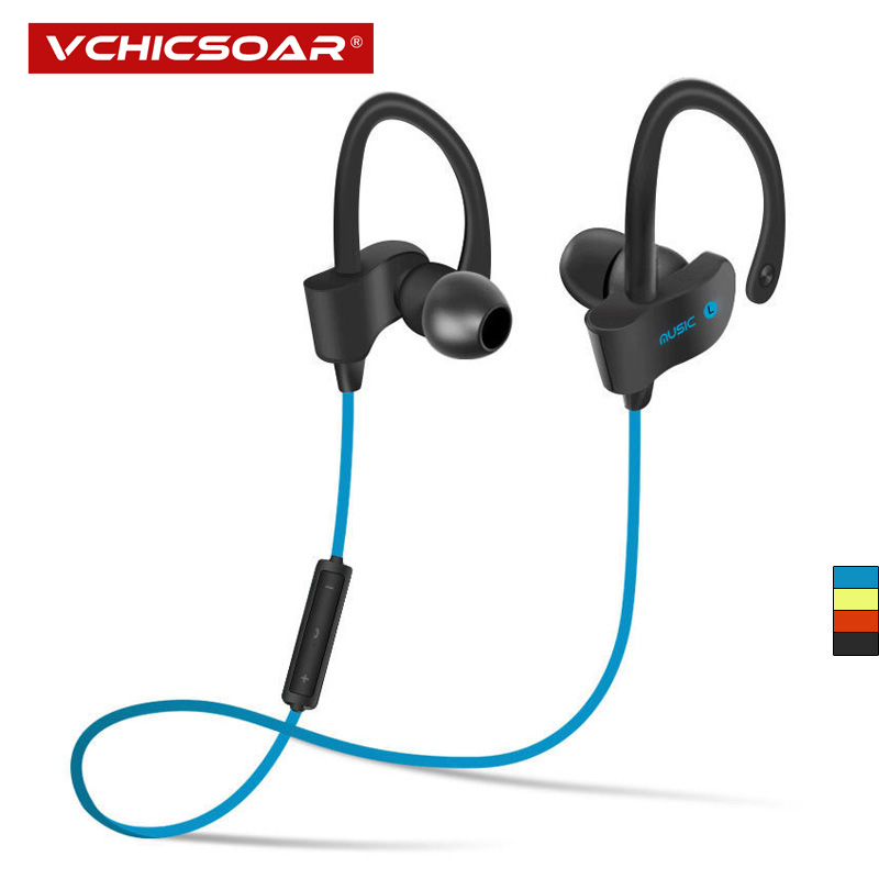 Vchicsoar 56S Bluetooth Earphone Sports Running Wireless Headset V4.1 Stereo Bass Portable Ear Hook Earphones with Microphone you first in ear earphones ear hook wireless bluetooth earphone hands free with microphone for mobile phone iphone6 s 7 plus