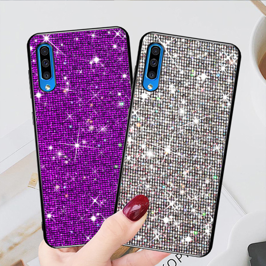 For Samsung Galaxy A50 Case Soft Silicone Cover Cases SFor Samsung Galaxy A50 A 50 2019 A505 A505FZ Grid Glitter Phone Bag
