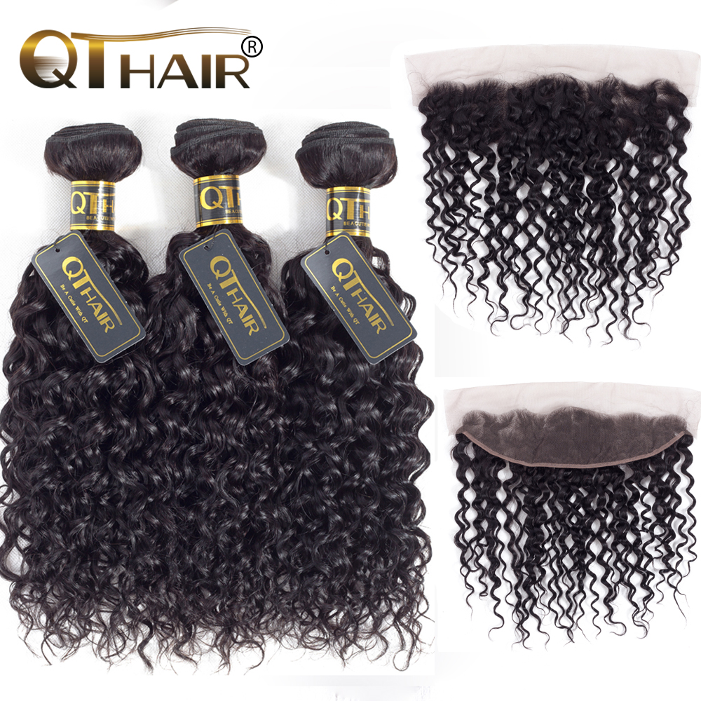 QT Malaysian Water Wave 3 Bundles With Frontal Human Hair Weave Bundles With Frontal 3Bunles With