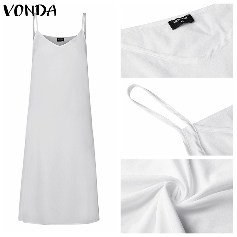 VONDA 2019 Women Summer Casual Sleeveless Vest Lining Dresses Plus Size Sexy V Neck Spaghetti Strap Dress Plus Size Vestidos