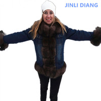 denim parka real fur coat winter jacket women real natural fox fur coat thick warm fur parkas street style new womens clothes