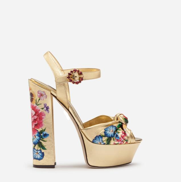 Moraima Snc Pre order Gold Metallic Leather Platform Woman Sandals Flower Printed Thick Heels Shoes Sexy Crystal Party ShoesMoraima Snc Pre order Gold Metallic Leather Platform Woman Sandals Flower Printed Thick Heels Shoes Sexy Crystal Party Shoes