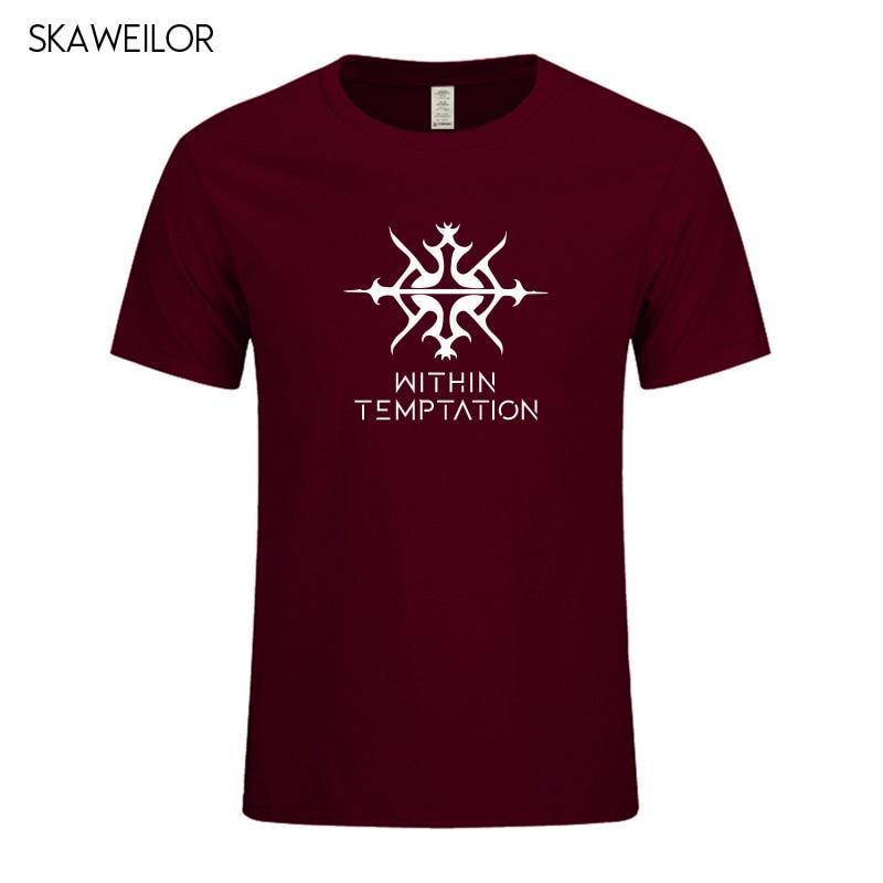 Within Temptation Metal Band Print T-shirt Men Summer Casual Short Sleeve T Shirt Cotton Punk Music Tee Tops Camisetas Masculina