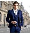 Ternos Dos Homens de alta Qualidade Azul royal 4 Peças Ternos para Os Homens do Casamento Do Noivo Smoking Groomsman Suits (Jacket + Pants + colete + gravata)