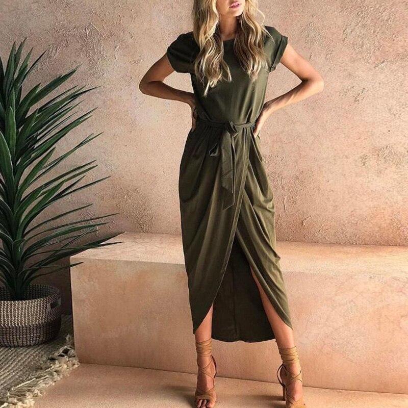 Women Summer short sleeve bandage asymmetrical Boho long maxi Dress evening Party Beach Dresses Sundress vestidos verano 2018