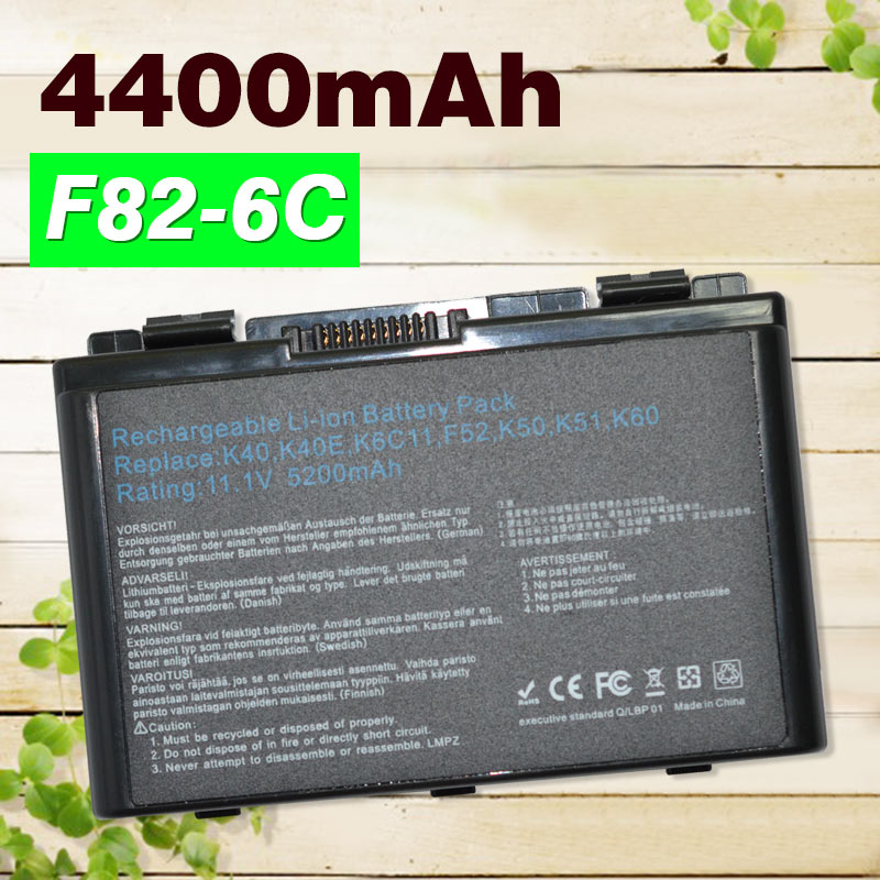 4400mAh laptop Battery For Asus A32-F52 A32-F82 A32 F82 K40 K40in K50 K50in k50ij K50ab K51 K60 K61 K70 P81 X5A X5E X70 X8A