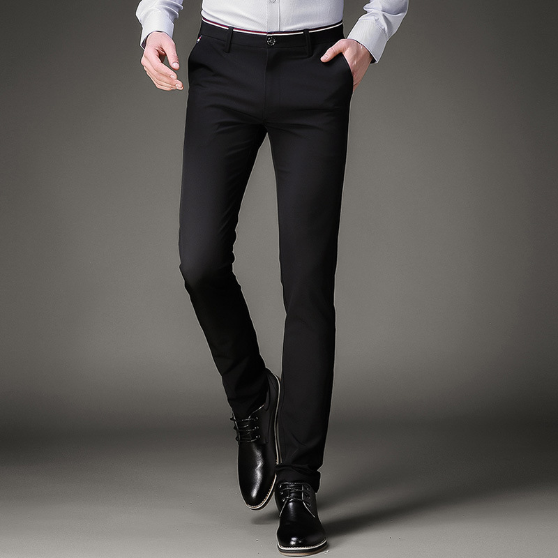 Jbersee Mens Black Dress Pants Formal Pants Slim Fit Wedding Men Black Suit Pants Business ...