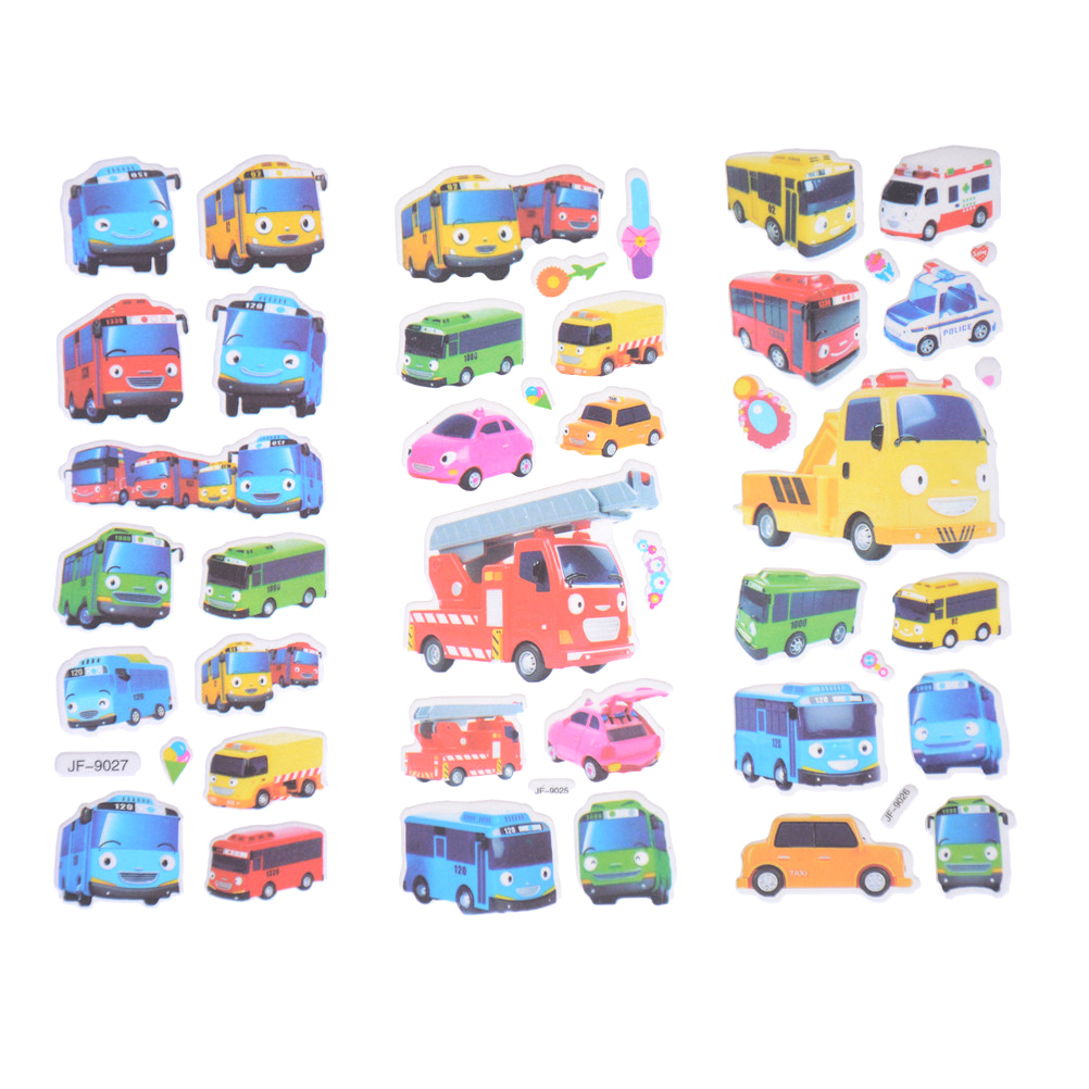 6pcs/set 3D Cartoon Stickers Pegatinas Infantiles Kids Stickers In Notebook Tayo The Little Bus Tag Pegatinas Juguetes