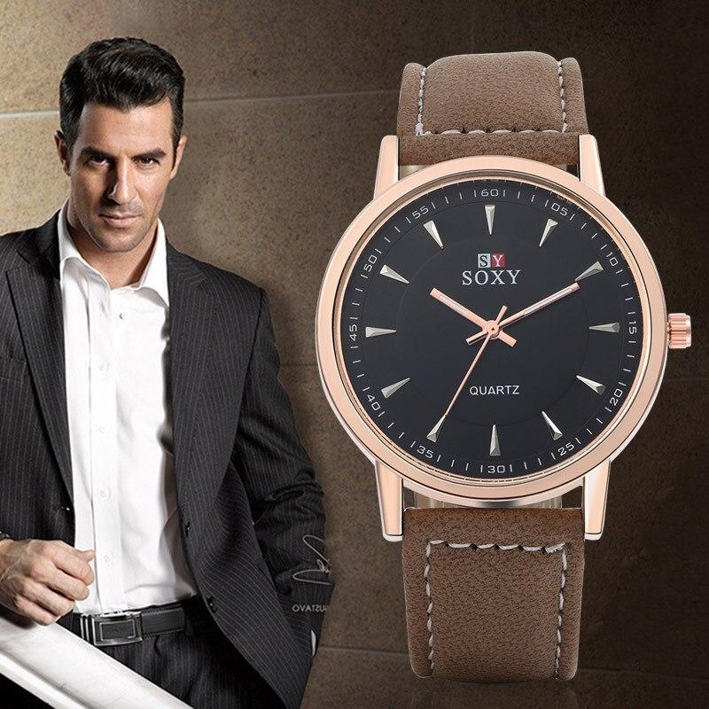 Best Men's Belt horloge retro horloge Heren Quartz horloge Lederen - Herenhorloges