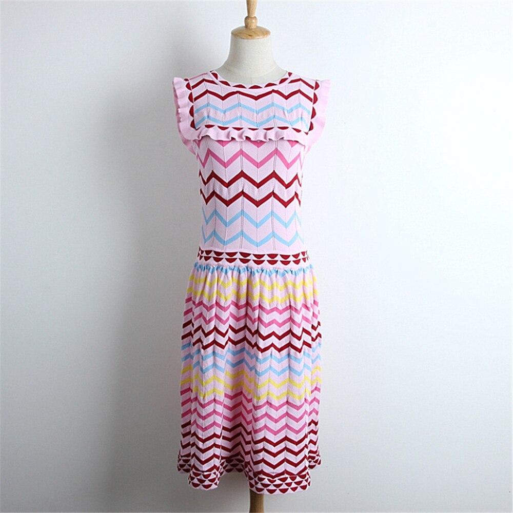 Runway Design Rainbow Dress Women Pullovers Sleeveless Dress Ruffles Vestido 2018 New Summer Multi-Color Wave Striped Sundress